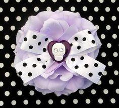LAST ONE & ON SALE! Buy here: http://punkupbettie.bigcartel.com/product/rockabilly-sugar-skull-heart-rose-hair-flower-lilac