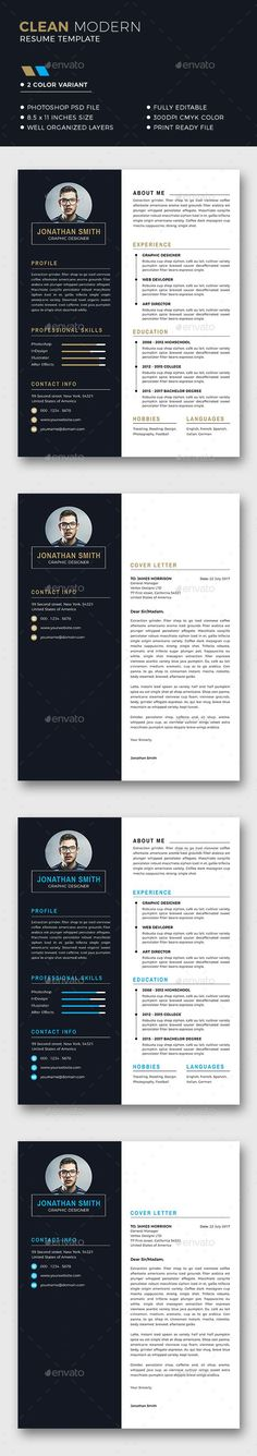 Resume Template - #Resumes #Stationer Download here: https://graphicriver.net/item/resume-template/20072413?ref=alena994