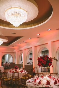 Red and white wedding reception decor {Asfis Photography}