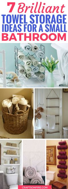 These 7 Towel Storage Hacks will make you LOVE your small, cramped bathroom. Find the best ways to save space while rocking your home decor and making your bathroom look amazing for cheap.