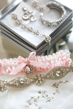 Another beautiful photo of Katherine Webb's custom wedding garter set along with her beautiful Haute Bride accessories. Photo courtesy of Joshua Moates of Kim Box Photography.