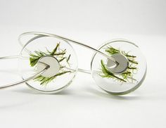 Moss Earrings, Sterling Silver Resin Earrings With Natural Moss on Etsy, $30.00