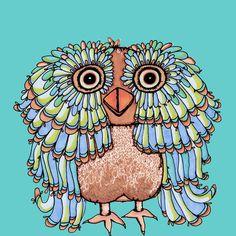Whimsical Brown Owl Art Print