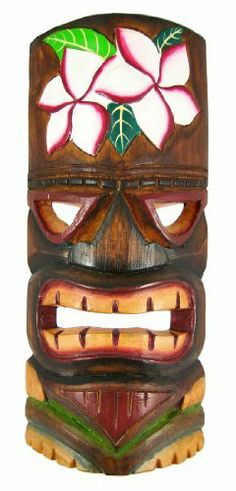 Hand Carved Painted Plumeria Flower Tiki Wall Mask by Things2Die4. $14.99. This awesome looking grimacing tiki wall mask is hand-carved from Indonesian Albessia wood, and hand-painted with green, red and orange paints to show off the detail. The forehead of the tiki features purple, white and green plumeria flowers, which are used in Hawaii to make leis. Measuring 11 inches tall, 5 inches at its widest and 2 1/2 inches deep, it looks great on walls in patios, living rooms, offic... Home Decor Sculptures, Wall Sculptures, Tiki Party, Luau Party, Tahiti, Tiki Faces, Hand Carved, Hand Painted, Tiki Mask
