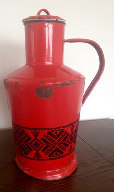 Polish vintage red enamelware.  I was told it was used for storing kitchen oil. Purchased in Landstuhl, Germany at European Vintage Chic.