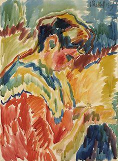 """Karl Schmidt-Rottluff (German, 1884 - 1976)  The Artist""""s Sister Sewing, 1909"""