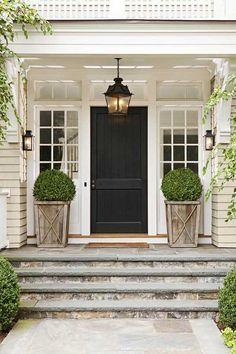 Front door rustic and farmhouse porch flower pot ideas