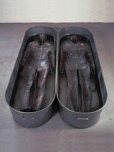 "Antony Gormley [UK] (b 1950) ~ ""CHROMOSOME"", 1984. Lead, zinc and water (46 x 200 x 120 cm)."