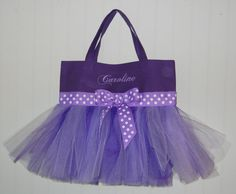 Embroidered Purple Tutu Bag with Purple Tulle and by naptime21, $20.00