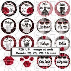 72 Images digitales pour cabochon thème pin up rétro vintage version rouge noir - rond : Images digitales pour bijoux par images-digitales-maison-lulu