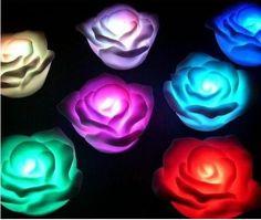 12pcs 7 colors Changing Auto Flameless Romantic Rose Shaped Led Bedroom Home Light#light