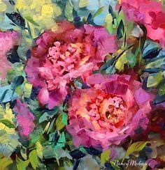 Eventide Pink Peonies and My Art Newsletter by Flower Artist Nancy Medina, painting by artist Nancy Medina