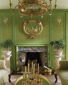 """Obsessed with """"the green room"""" in Martha Stewart's Bedford, New York home. All those brass accents, lights, and accessories are so flipping' chic."""