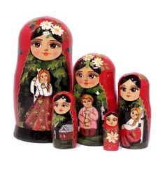 Girl and birch tree matryoshka nesting doll set Doll Set, Birch, Crafts, Manualidades, Handmade Crafts, Craft, Arts And Crafts, Artesanato, Handicraft