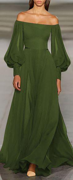 Hot Sale!Solid Off Shoulder Elegant Women Fashion Maxi Dresses Beautiful Gowns, Beautiful Outfits, Beautiful Women, Look Fashion, Womens Fashion, Fashion Tips, Green Fashion, 70s Fashion, Winter Fashion