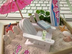 Mini Desktop BEACH Terrarium / Sea Themed Zen Garden / Tiny Office Vacation Kit / Miniature DIY Set / Sand Seashells Treasure / Summer Motif