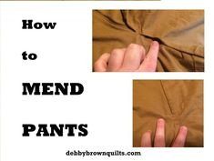 How to Mend Pants.  Basic clothing repair.  Stitch a seam.  Hand Sewing.  Sewing Machine.