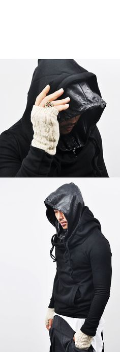 Tops :: Hoodies :: Edgy Double-layered Thick Fleece-Hoodie 25 - Mens Fashion Clothing For An Attractive Guy Look