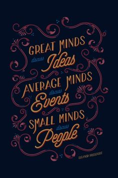 Great Minds Canvas Print. Typography poster, famous quotes. Organic.
