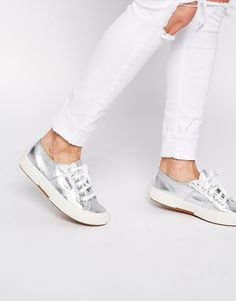 Discover women's trainers with ASOS. From trainers to plimsolls and retro styles, ASOS offers a great alternative to a smart pair of shoes. Shop now at ASOS. Superga Outfit, Superga Sneakers, Shoes Sneakers, Sneakers Fashion, Metallic Shoes, Silver Shoes, Asos, Silver Trainers, Best Online Stores