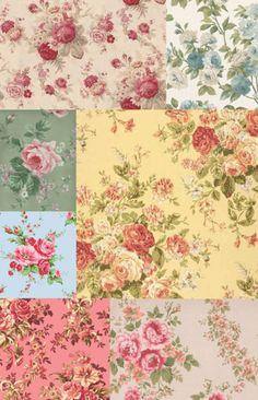Love all the flower patterns Art Vintage, Decoupage Vintage, Vintage Roses, Vintage Paper, Vintage Images, Vintage Floral, Striped Wallpaper, Fabric Wallpaper, Decoupage Printables