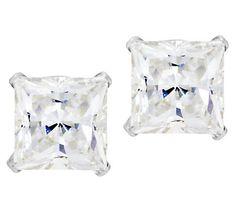 Diamonique 2.00ct tw Princess Stud Earrings,14K Gold