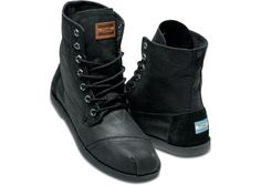 ready for where ever you need them to take you // TOMs Black Aviator Twill Utility Boots