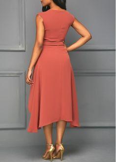 Round Neck Cap Sleeve Asymmetric Hem Brick Red Dress on sale only US$34.42 now, buy cheap Round Neck Cap Sleeve Asymmetric Hem Brick Red Dress at liligal.com