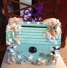 Under the sea card box treasure chest card box beach