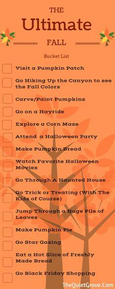 Fall Halloween Bucket List