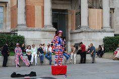 Street artist in London. Union Jack lady.