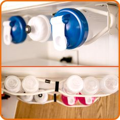 Sports and Baby Bottle Organization: The ZERO G Bottle Belt helps organize and maximize storage space in your cabinet with a low profile, space saving bottle storage solution for baby bottles, water bottles, bike and cycling bottles, coffee and commuter mugs and much more.   Organize and store baby bottles with this great organization solution.  An innovative idea for small kitchen spaces.  Maximize space savings and improve use.