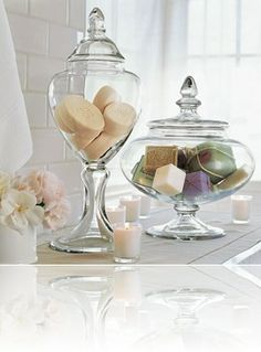 Jars glued onto glass candlesticks & filled with seasonal items? (twigs, pumpkins, Epsom salt & candle, hearts, something green, decorated eggs, flowers)