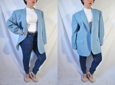 Channel the androgynous spirit of the 80s with this new wave blue blazer!