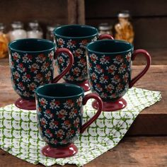 The Pioneer Woman Fall Flowers 18-Ounce Latte Mug Set, 4-Pack - Walmart.com