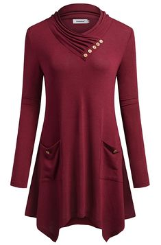 d8da83a2b4 TINYHI Women s Long Sleeve V-Neck Side Pockets Casual Swing T-Shirt Dress(Red