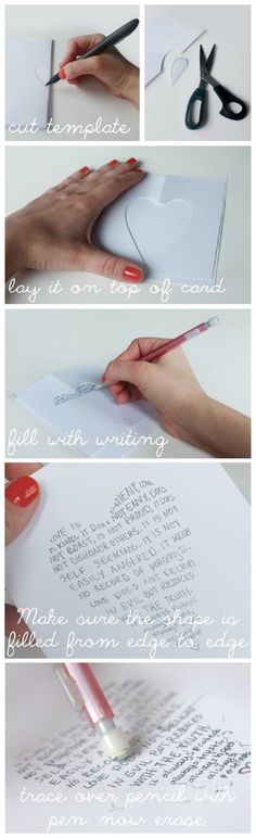 Use Cookie Cutters to Write Shapes on Greeting Cards - 20 DIY Valentine's Day Cards to Make You LOL in Love | GleamItUp