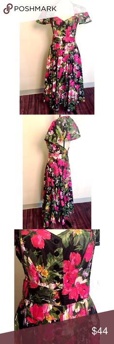 """🎉NameYourPrice🎉 Vintage Floral Cape Dress 👗 Vintage 1980s floral dress by Foxy Lady. Two thin straps for added support. Cape cooler goes over head and rest perfectly on shoulders. Button down fitted bodice with two hidden pockets on sides of skirt. Comes with matching belt. Perfect pinup Hot August Nights dress. Dress form measurements: Chest 34"""" x Shoulders 36"""" x Waist 27"""" x Hips 36.5"""" x Neck 12.5"""" foxy lady Dresses Backless"""
