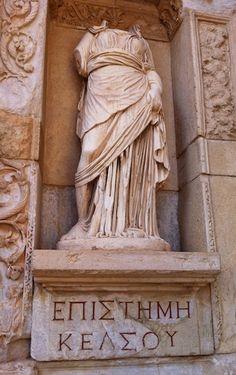 Statue and inscription at the Library of Celsus Ephesus, Lydia modern Kusadasi, Turkey. Turkey Europe, Turkey Travel, Turkey Places, Ancient Greek City, Cemetery Angels, Kusadasi, Istanbul Travel, Ephesus, New Africa