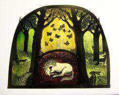 Wild Strawberry Unicorn – 23 x 19cm. Stained Glass Portfolio - Tamsin Abbott