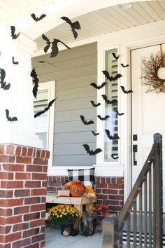 Bats and Halloween go hand in hand so decorate your yard our front porch with a bunch of them to create a spooky vibe. Scatter them all over the place for the best effect. See more party ideas and share yours at CatchMyParty.com Outdoor Halloween Parties, Halloween Porch Decorations, Diy Halloween Decorations, Halloween Diy, Halloween 2020, Halloween House, Pirate Halloween, Spooky Decor, Halloween Birthday