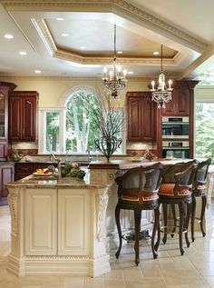 Love this kitchen! Island, bar stools, & ceiling ~ Whole House Renovation - traditional - kitchen - new york - by Creative Design Construction, Inc. Decor, Traditional Kitchen Design, Luxury Kitchens, Kitchen Design, Sweet Home, Kitchen Island Design, Home Decor, House Interior, Kitchen New York