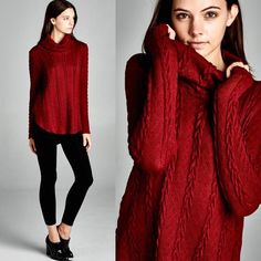 "X ""Valentine"" Turtleneck Knitted Sweater Top So warm and cute! Sweater top with knitted designs and a turtleneck. Available in burgundy and toffee. This listing is for the BURGUNDY. Brand new. True to size. NO TRADES. PREORDER Bare Anthology Sweaters Cowl & Turtlenecks"