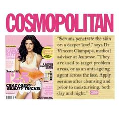 Magazines with Jeunesse Global's products featured. Stay Young, Anti Aging Skin Care, Cleanser, Dna, Serum, The Cure, How To Apply, Magazines, Cosmopolitan Magazine
