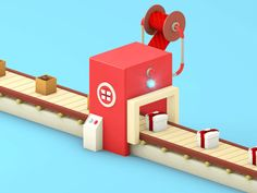 Machine: GIF Animation on Behance 4d Animation, Animation Stop Motion, 3d Design, Game Design, 3d Cinema, Recycling Machines, 3d Printed Objects, Up Book, 3d Drawings
