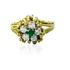 18k Gold Diamond Emerald Flower Motif Ring Available on our July 21st Auction @ hamptonauction.com