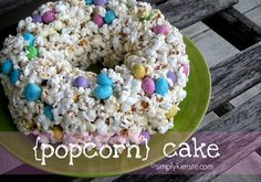 Popcorn Cake! Way easier than forming a bunch of individual popcorn balls & so cute too!!