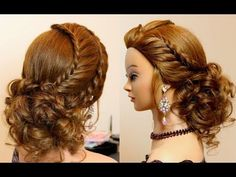 Curly prom wedding hairstyle with braid for long hair tutorial - YouTube