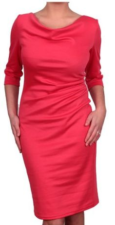 Berry - Beautiful Business / Evening Pencil style Dress 3/4 Sleeve Red Coral Graphite Plus Size (UK 22 - EU 50, Coral) Berry http://www.amazon.co.uk/dp/B00P17H0UA/ref=cm_sw_r_pi_dp_SOmBwb1JE95A3