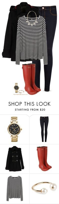 """Barbour boots & coat"" by steffiestaffie ❤ liked on Polyvore featuring Michael Kors, Ted Baker, Barbour, R13, Pieces and Panacea"